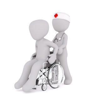 Two symbolic person, one in a wheelchair moved by the other