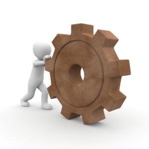Figure mooving a big wheel
